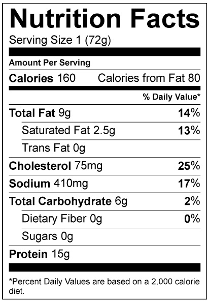 Nutrition Information Yellowbelly Chicken