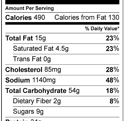 Chicken & Sandwiches Nutrition Facts Archives..